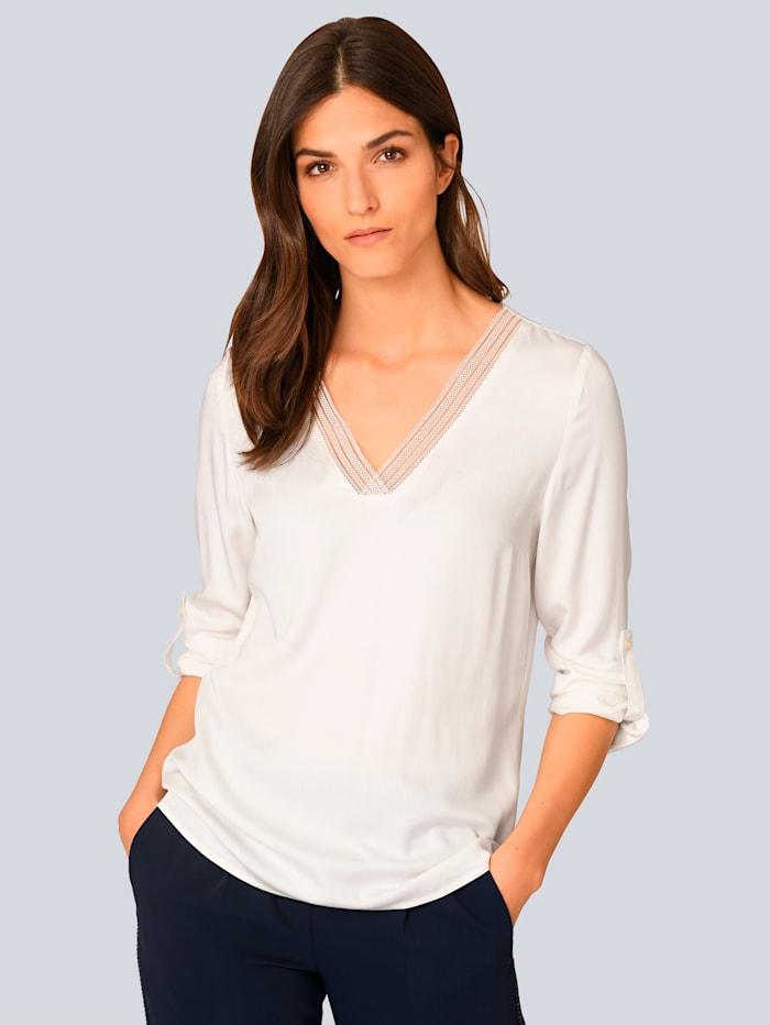 Alba Moda Bluse mit Spitze am Ausschnitt, Weiß