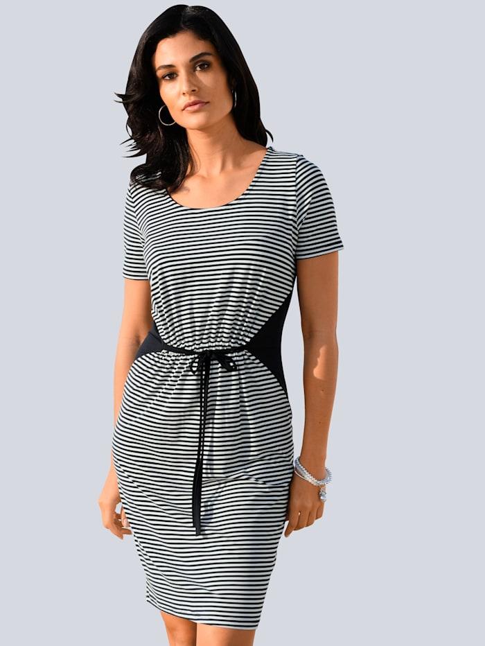 Alba Moda Jerseykleid mit seitlichem Einsatz und Bindebändchen, Marineblau/Weiß