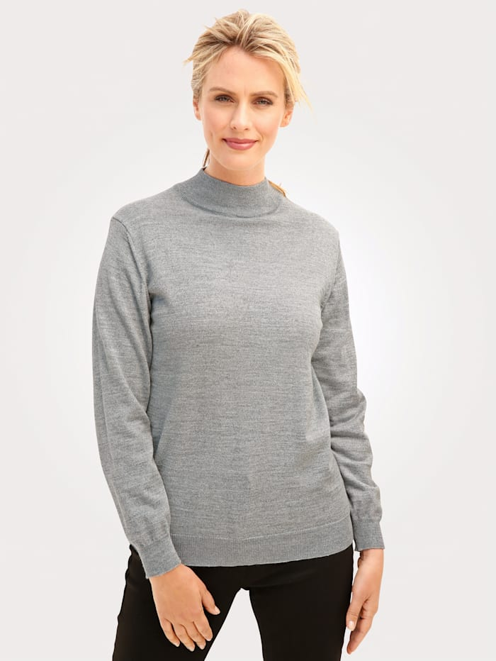 MONA Stehbund-Pullover mit Merino-Schurwolle, Silbergrau