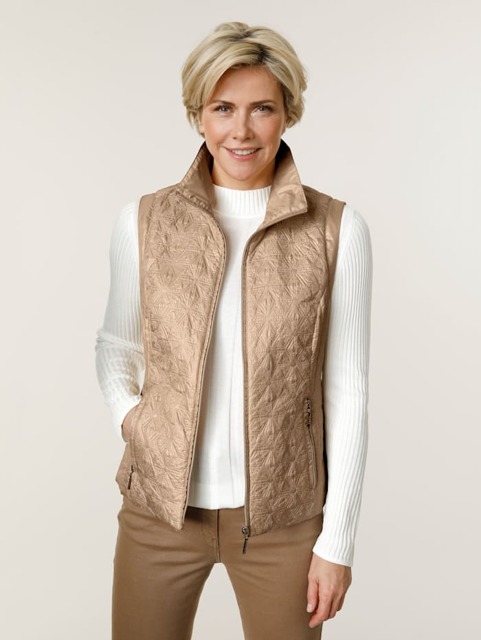 MONA Quilted gilet with light padding, Sand