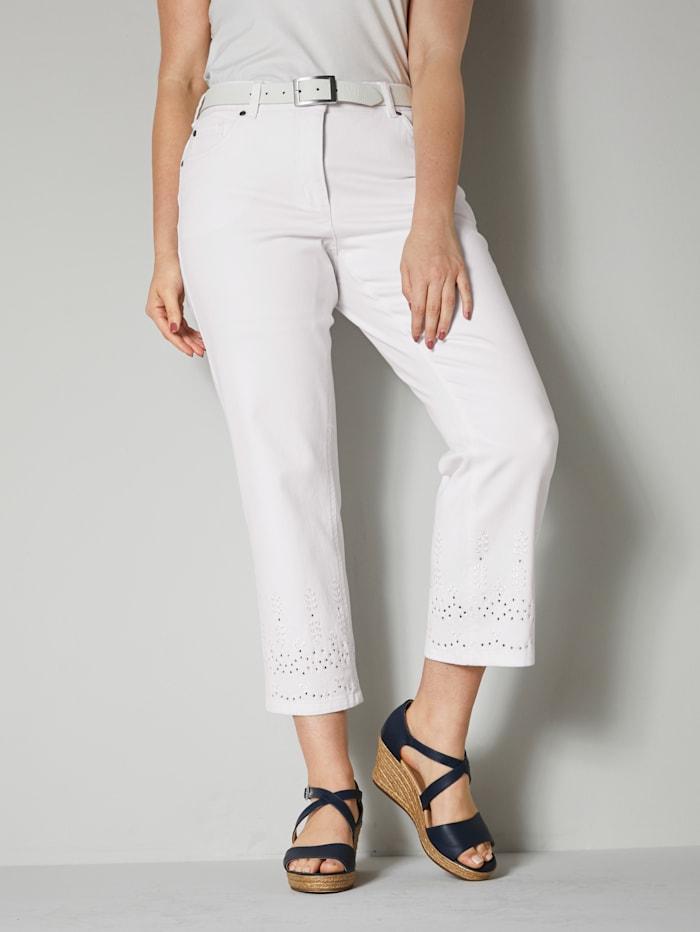 Sara Lindholm Jeans met opengewerkt borduursel, Wit