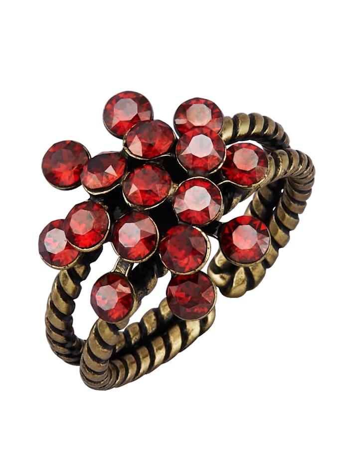Konplott Damesring met kristalsteentjes, Rood