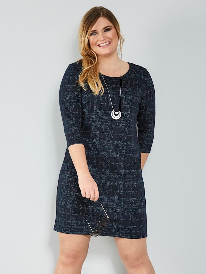 MIAMODA Jerseykleid mit kontrastfarbenem Garn, Marineblau/Weiß