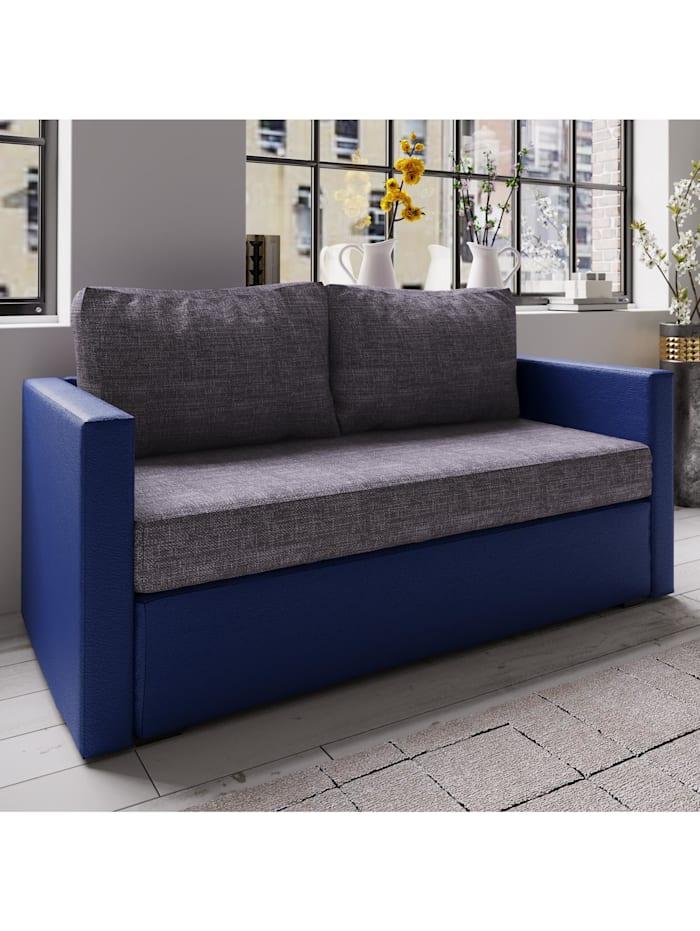 """VCM 2er Couch mit Schlaffunktion """"Casula"""", Blau / Grau"""