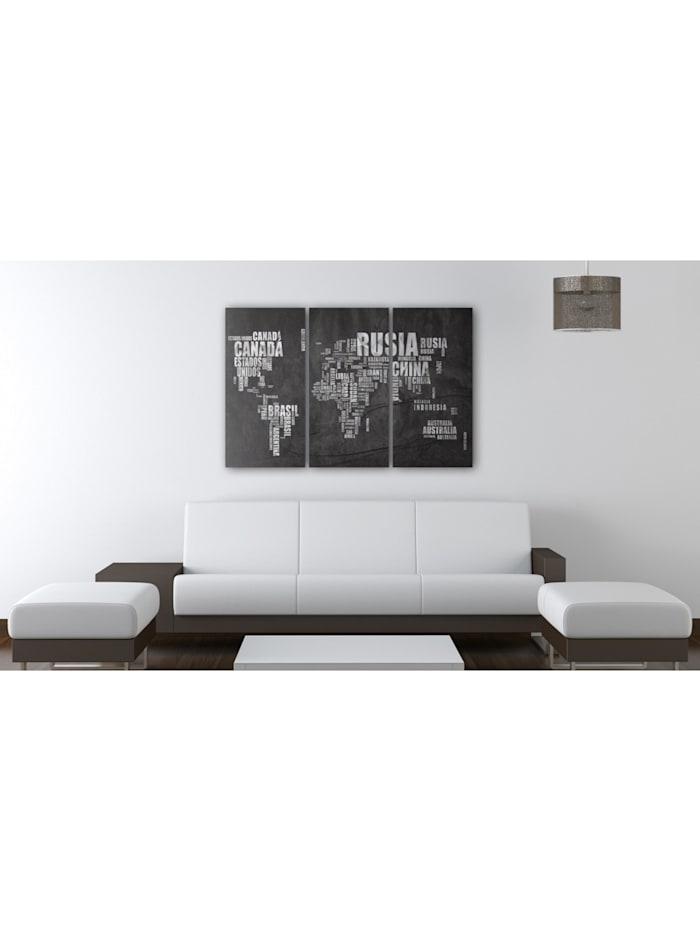 Wandbild Weltkarte (Spanisch) - Triptychon