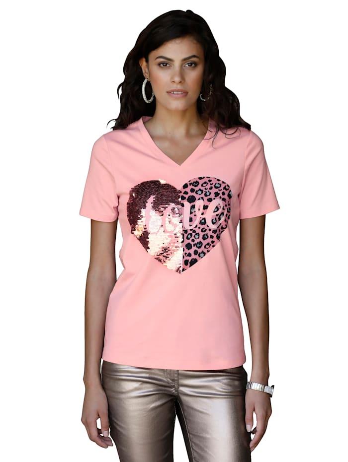 AMY VERMONT Shirt mit Pailletten, Rosé