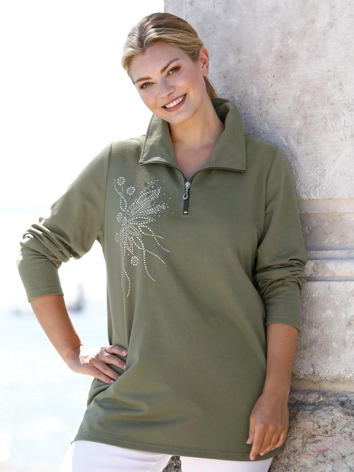 m. collection Sweatshirt met fonkelende siersteentjes en klinknageltjes, Olijf