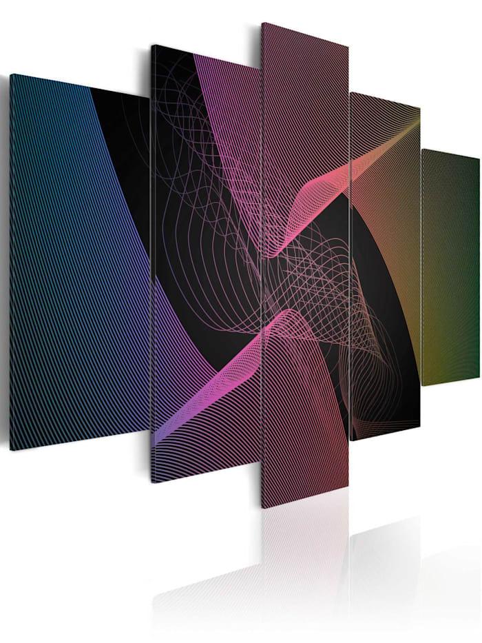artgeist Wandbild Abstraktionen: Prisma, Schwarz,rosa,Türkis,Violett,Gelb