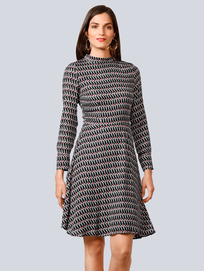 Alba Moda Kleid aus reiner Viskose-Ware, Schwarz/Off-white/Rot