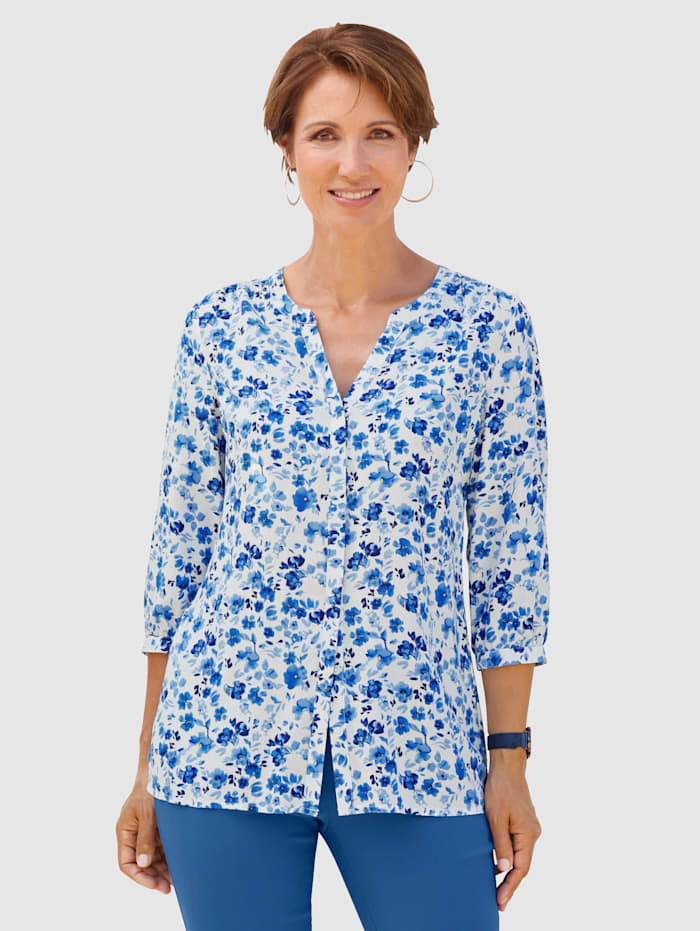 Paola Blouse met bloemenprint, Blauw/Wit
