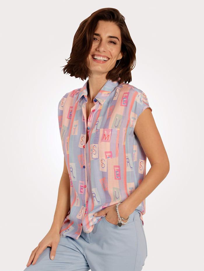 MONA Bluse mit dekorativer Brusttasche, Hellblau/Apricot/Pink