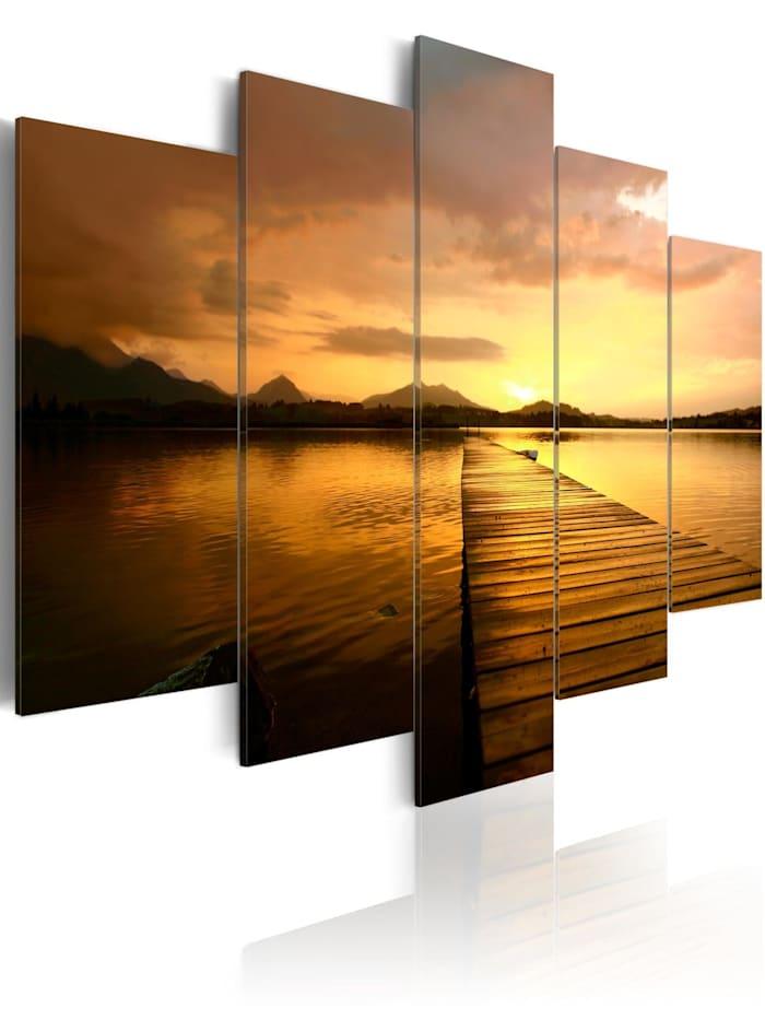 artgeist Wandbild Sunset Island, Braun,Orange,Gelb