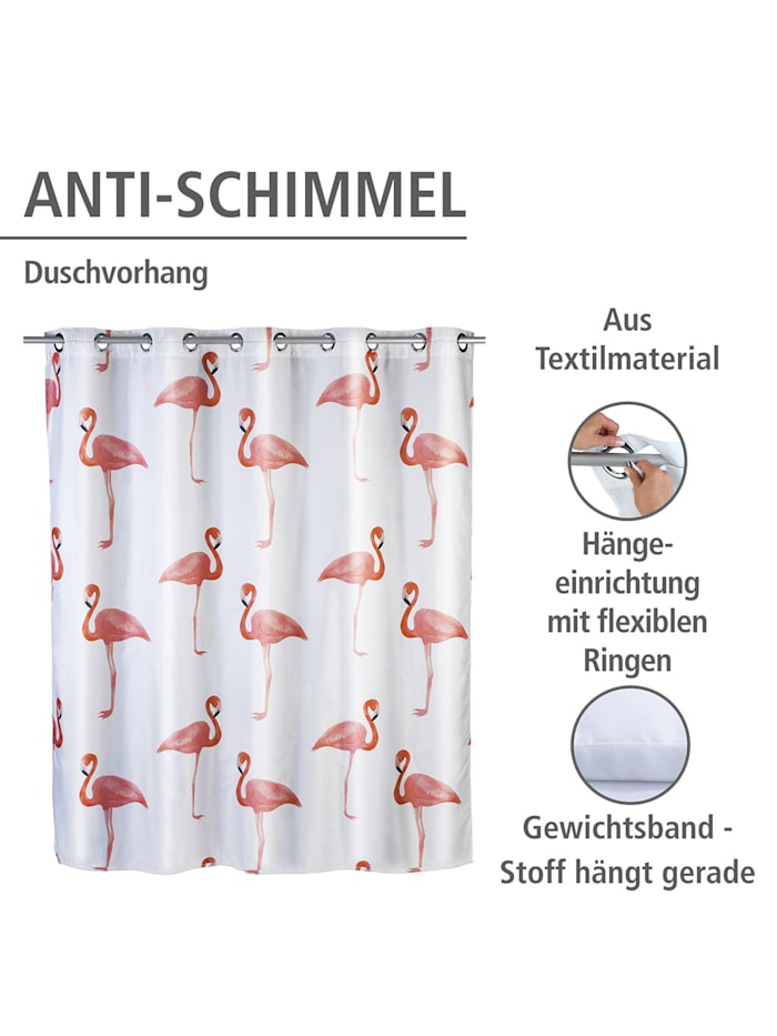 Anti-Schimmel Duschvorhang Flamingo Flex, Textil (Polyester), 180 x 200 cm, waschbar