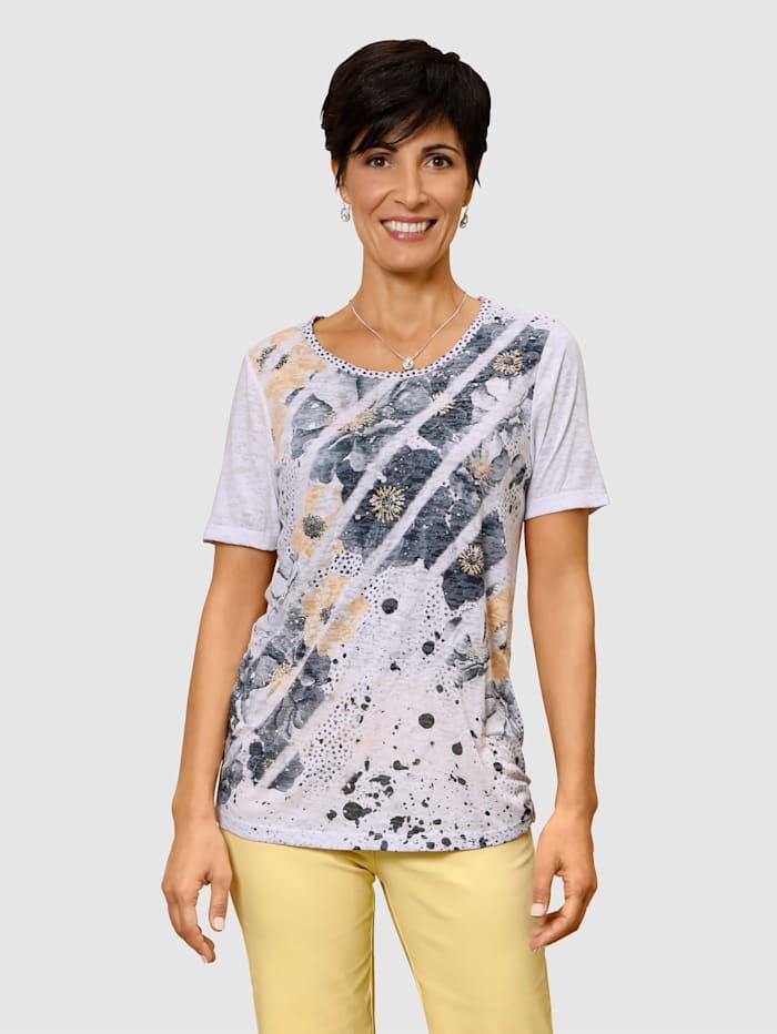 Paola T-shirt en matière froissée, Blanc/Marine/Vanille
