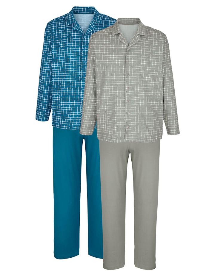 Pyjamas avec col chemise classique, Pétrole/Gris