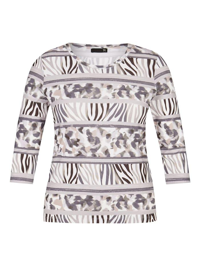 Thomas Rabe Shirt mit Animal-Print und 7/8-Ärmeln, ANTHRAZIT