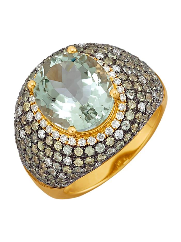 Diemer Farbstein Ring med grön ametist, Flerfärgad