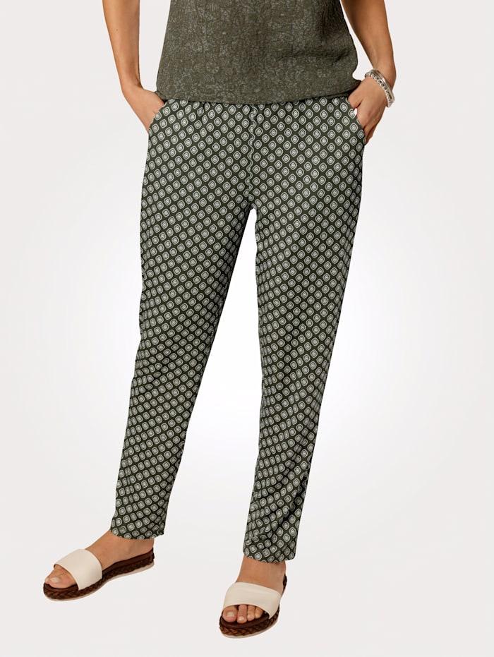 MONA Pantalon à motif graphique, Olive/Écru