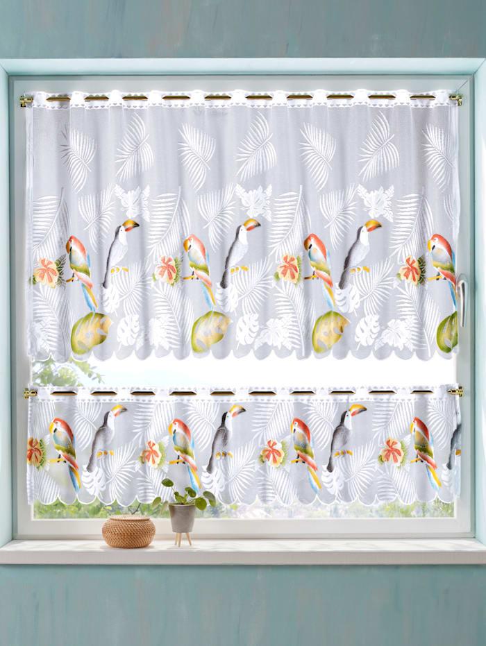 Webschatz 2-delige vitrageset Papugi, multicolor