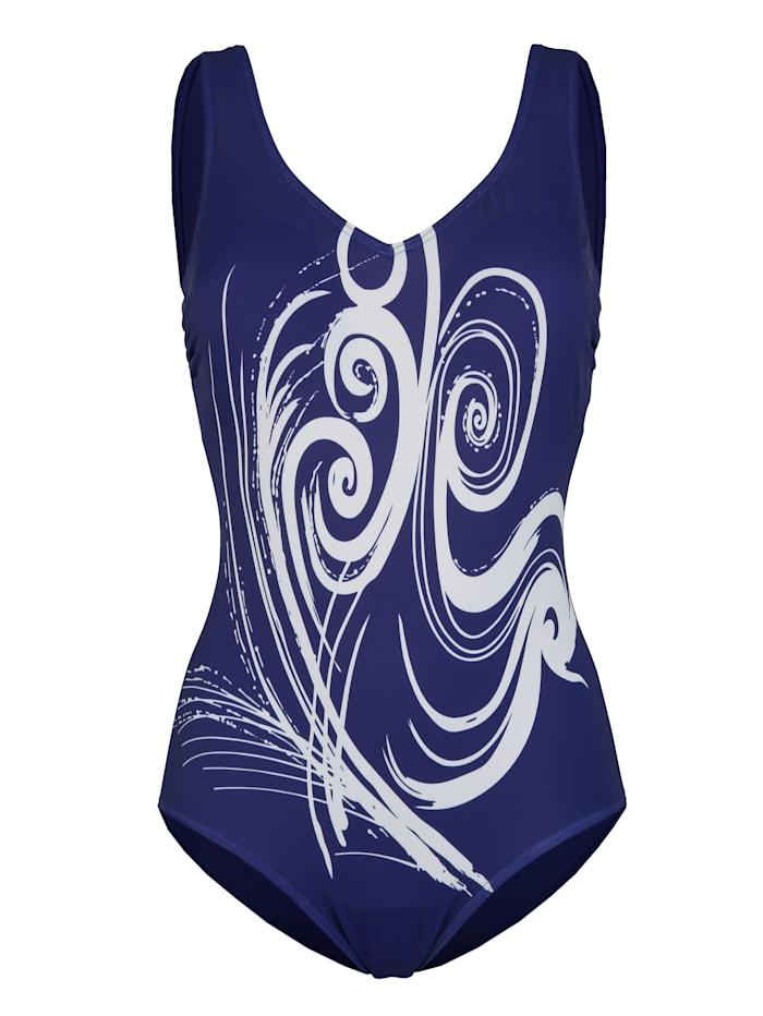 Maritim Badeanzug im klassischen Stil, Lila/Weiß