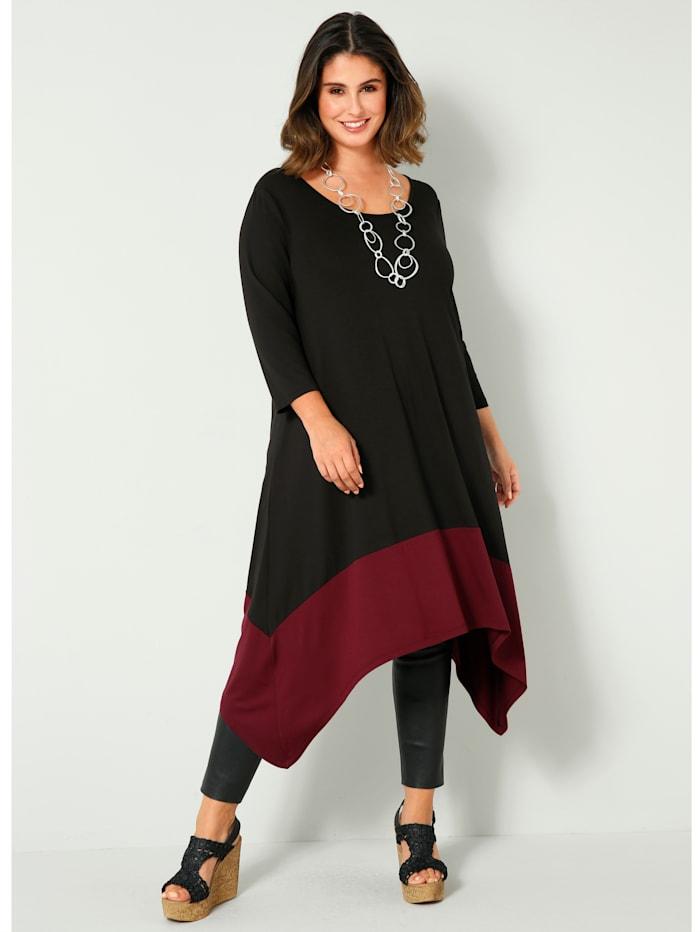 Sara Lindholm Jerseykleid mit Zipfelsaum, schwarz-granatrot