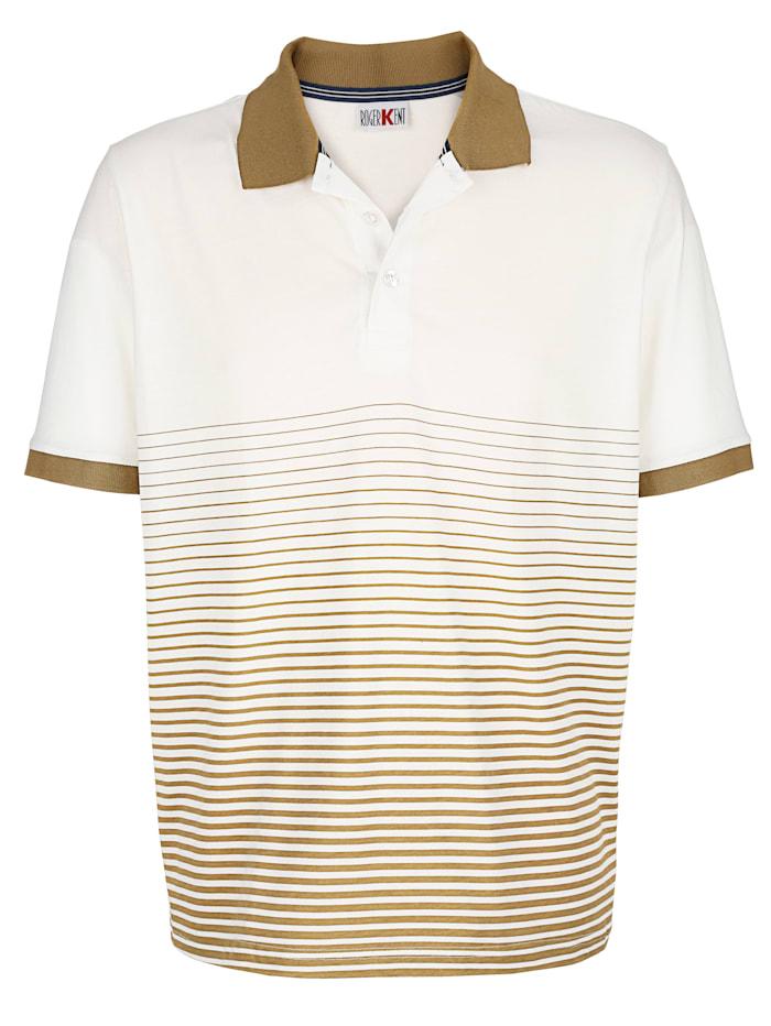 Roger Kent Poloshirt Streifendruck im Vorderteil, Ecru/Khaki