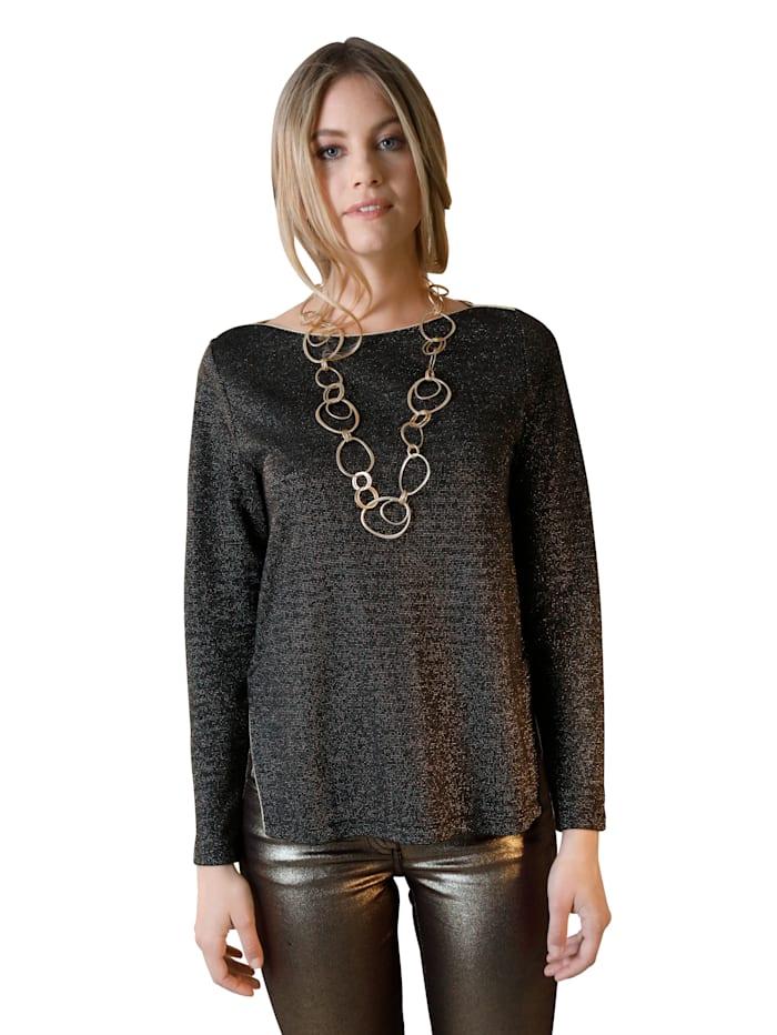 AMY VERMONT Shirt mit metallisiertem Garn, Schwarz/Goldfarben