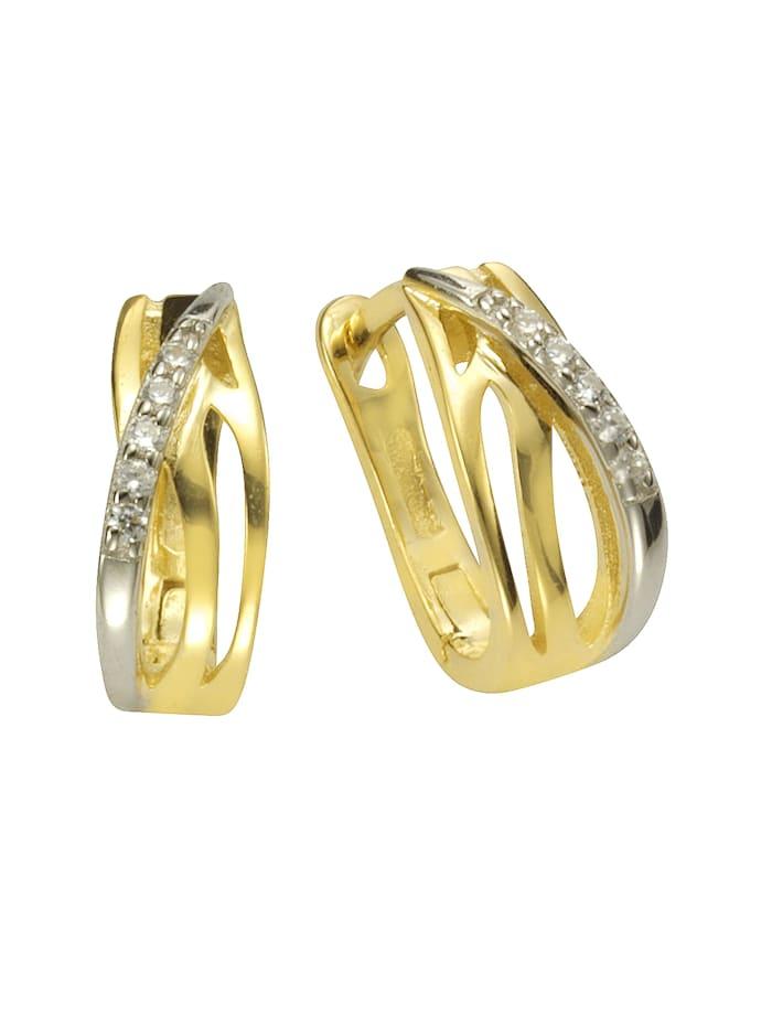 ZEEme Creolen 925/- Sterling Silber Zirkonia weiß 1,45cm Glänzend 925/- Sterling Silber, gelb