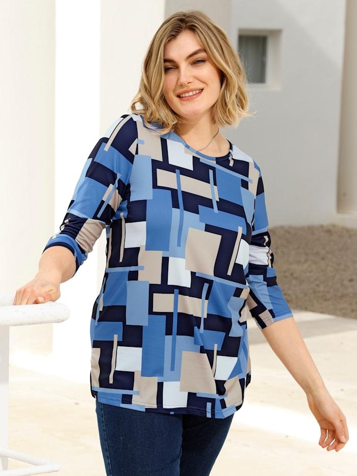 m. collection Shirt in grafischem Druckdesign, Marineblau/Blau