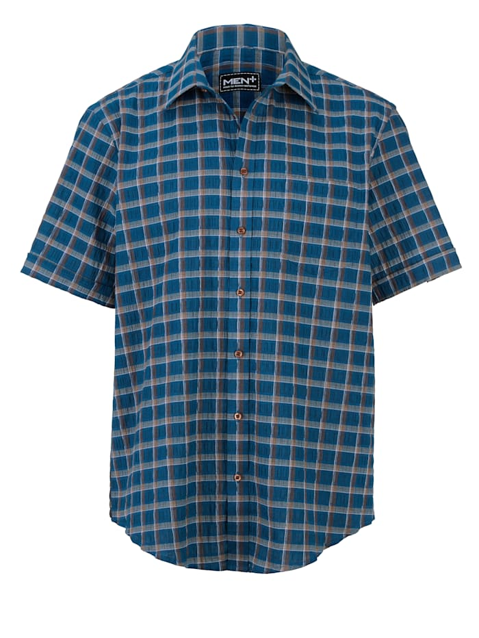 Men Plus Overhemd, Petrol/Bruin