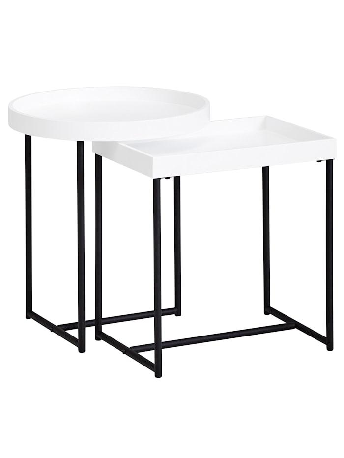finebuy Satztisch 2er Set Weiß Holz/Metall Beistelltische Tabletttisch 2-Teilig Tische für Wohnzimmer, Weiß