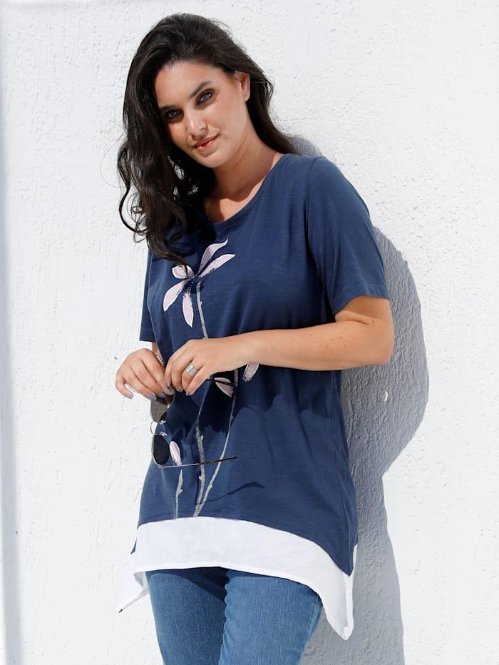 MIAMODA T-shirt à pointes d'aspect 2 en 1, Bleu