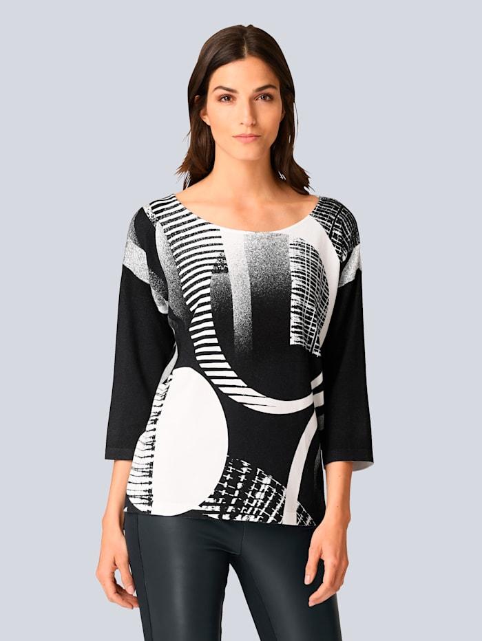Alba Moda Pullover in Alba Moda exklusivem Dessin, Marineblau/Off-white