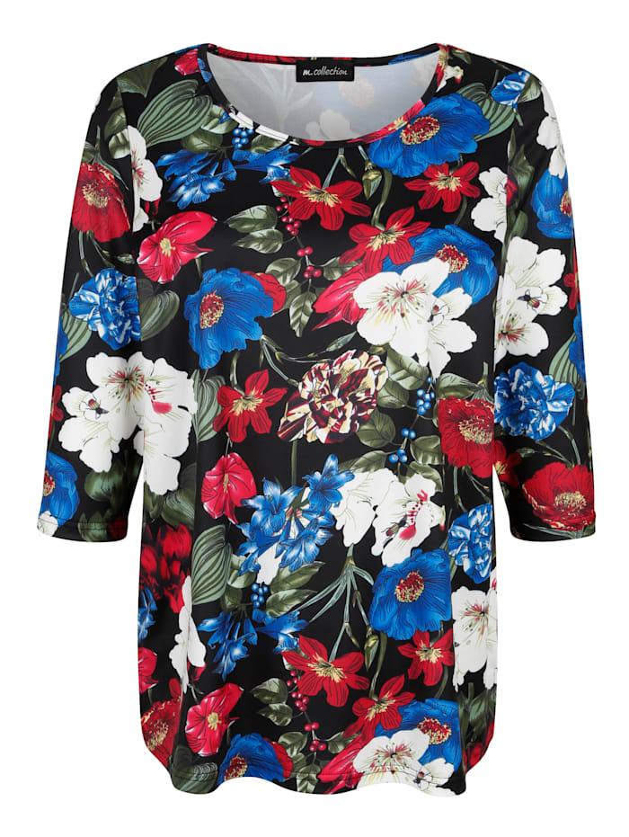 m. collection Topp med blommigt mönster, Svart