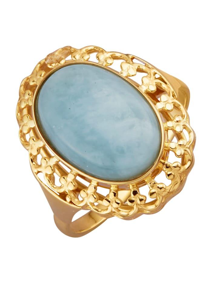 Ring i gullfarget metall, 333, Blå