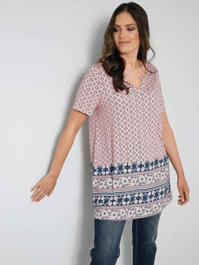 Janet & Joyce Tunika-Shirt in A-Shape, Rosenholz/Marineblau