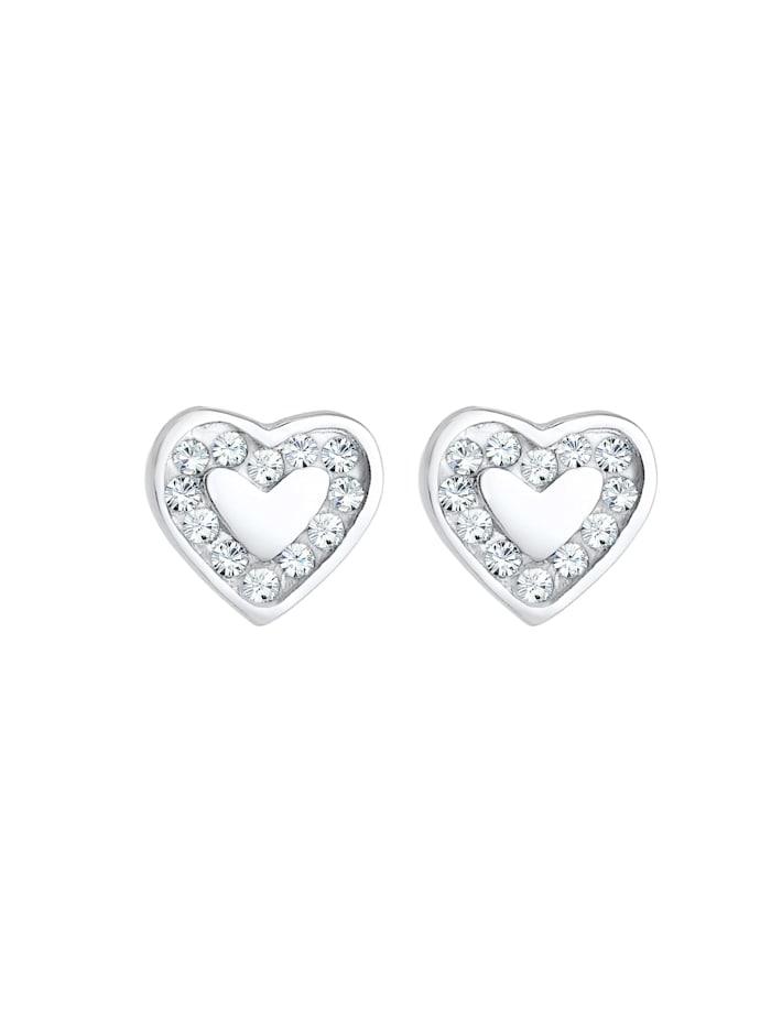 Ohrringe Kinder Herz Hänger Kristalle 925 Silber