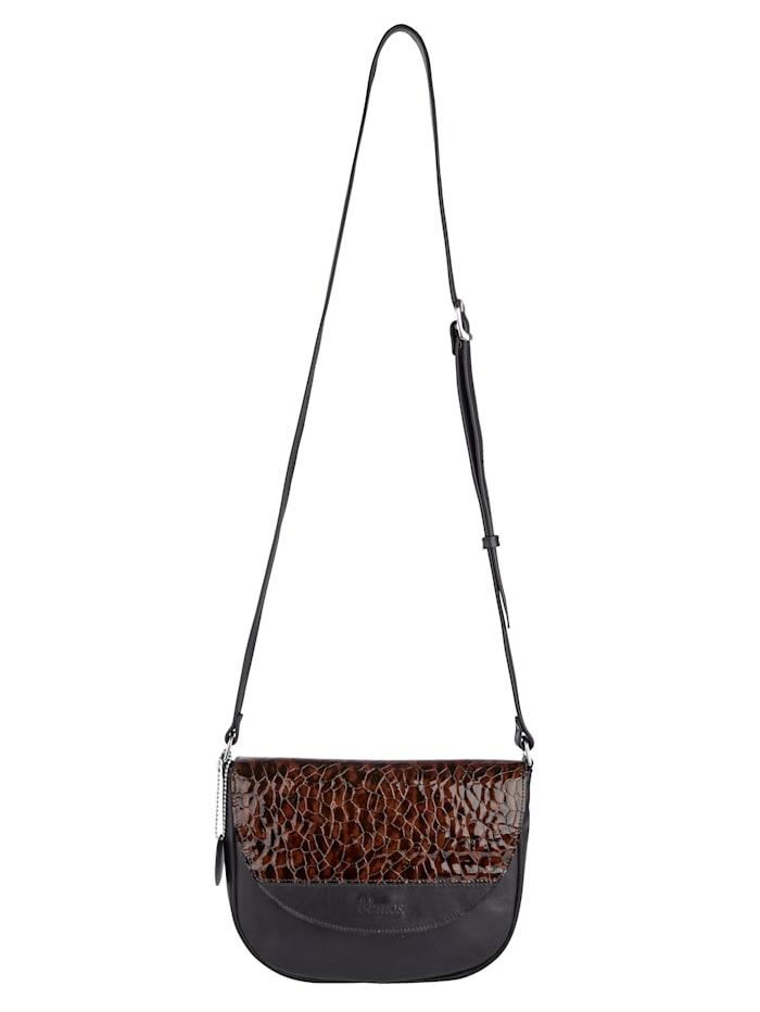 Vamos Umhängetasche aus hochwertigem Leder, Cognac/Schwarz