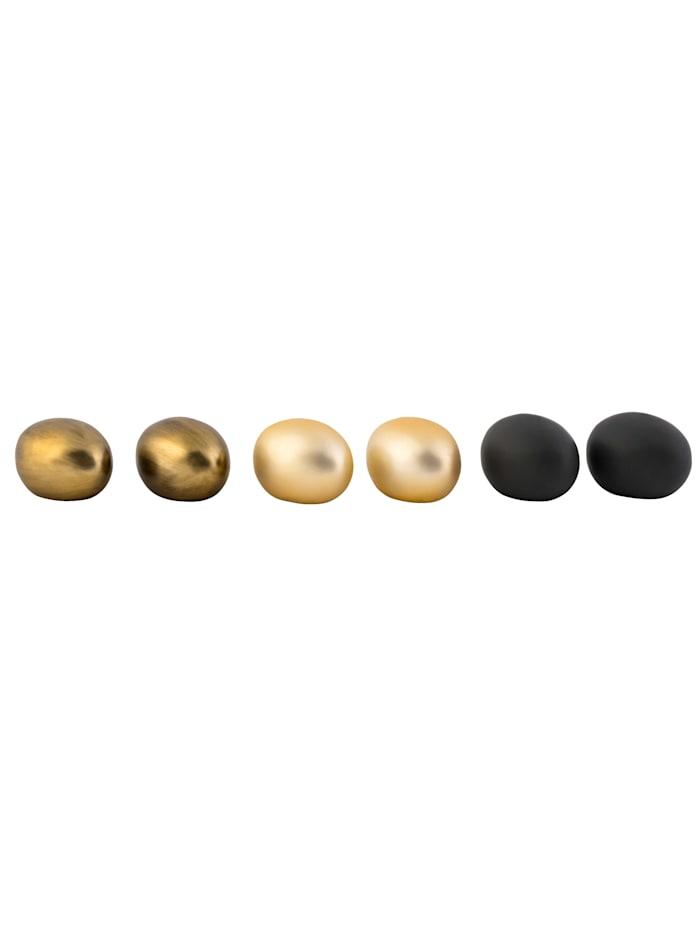 IMPRESSIONEN living Osterei-Set, 6-tlg., schwarz/goldfarben/anthrazit-goldfarben