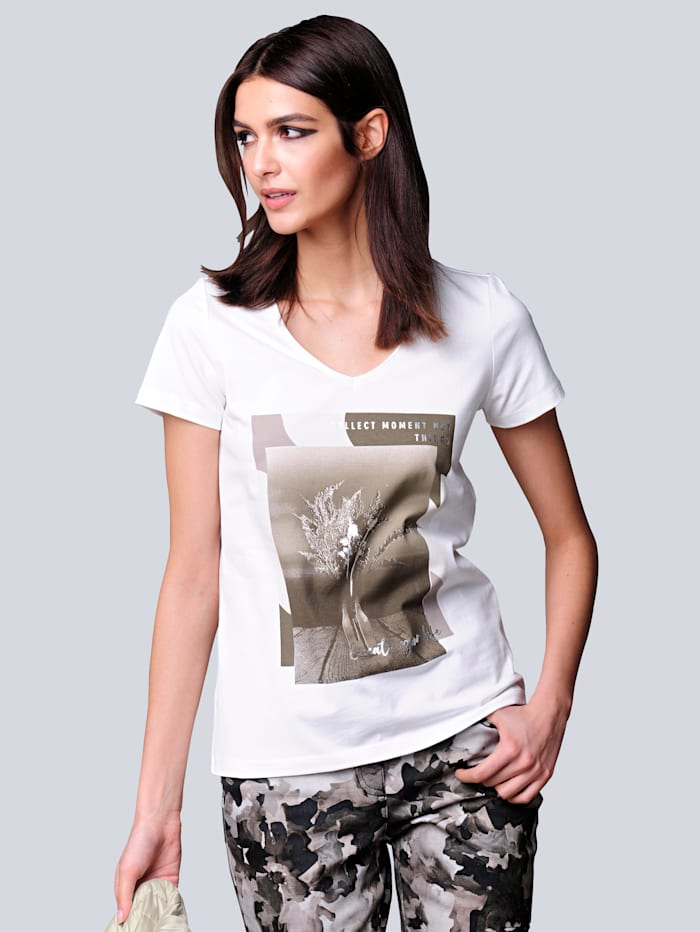 Alba Moda Shirt mit exklusivem Motiv-Print von Alba Moda, Weiß/Khaki