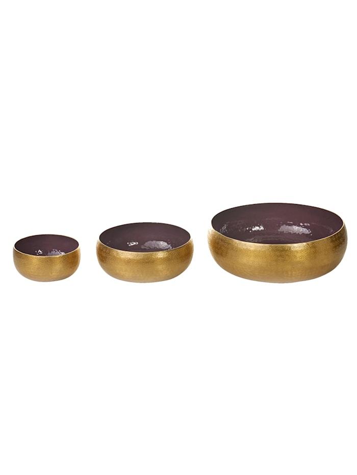 IMPRESSIONEN living Deko-Schalen-Set, 3-tlg., mauve/goldfarben