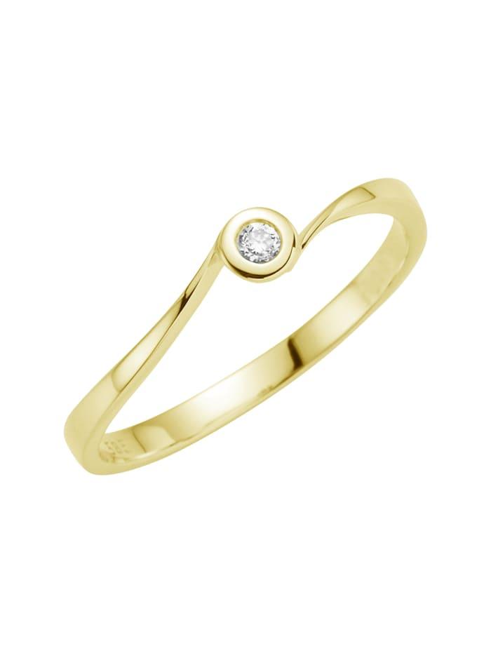 Orolino Ring 585/- Gold Brillant weiß Brillant Glänzend 0.06Karat, gelb