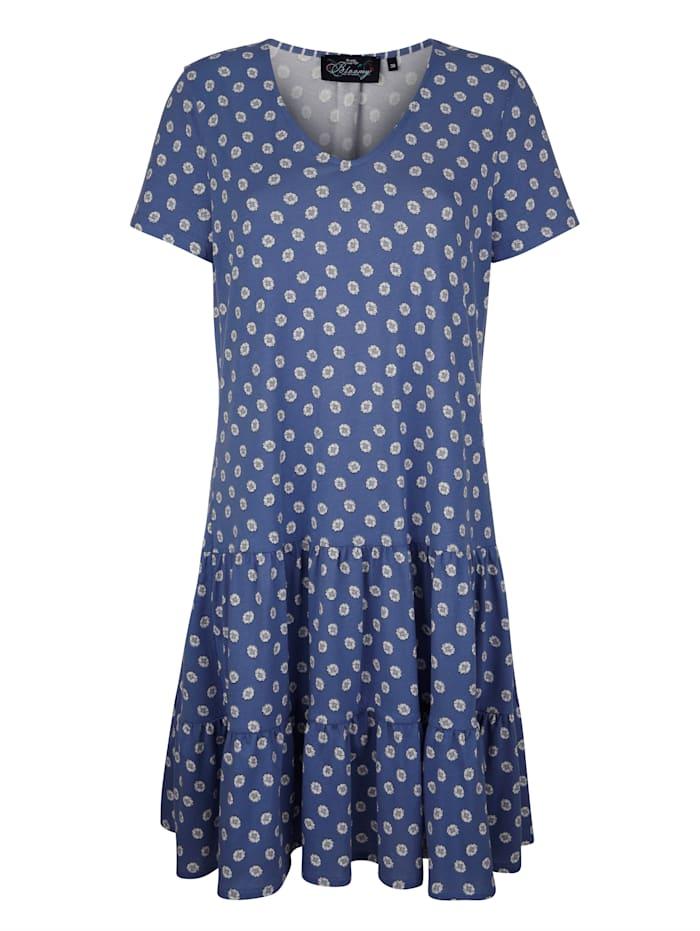 Ringella Nachthemd met fraaie volants, Blauw/Wit/Marine