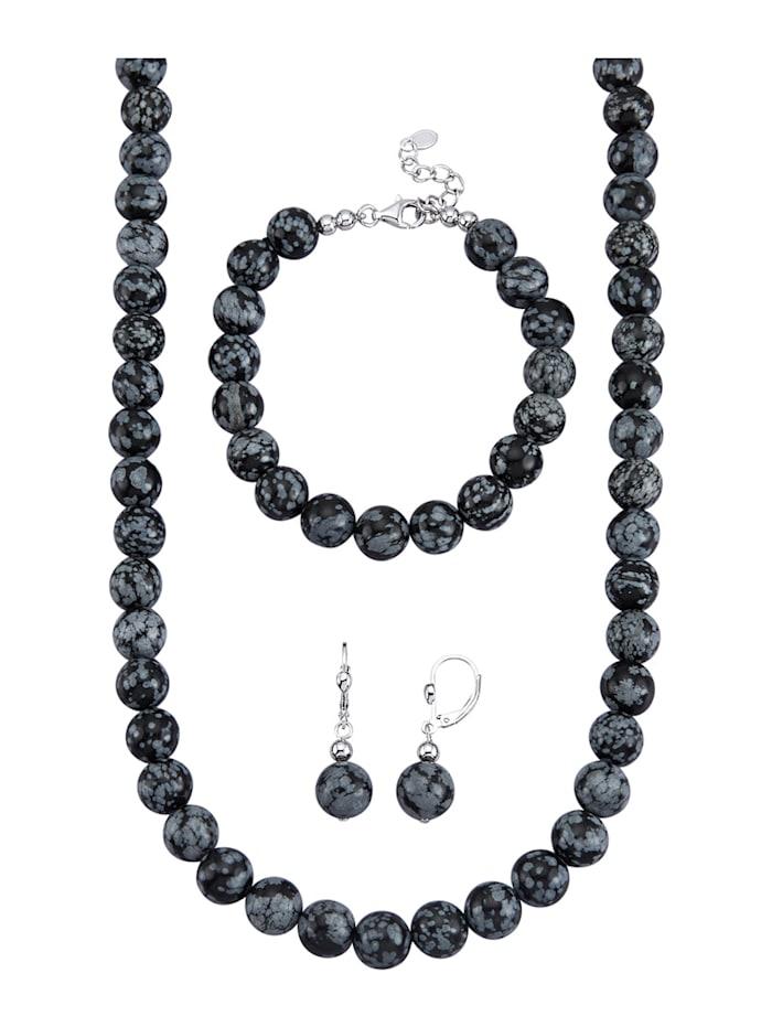 Amara Highlights Parure de bijoux 3 pièces en obsidienne, Gris