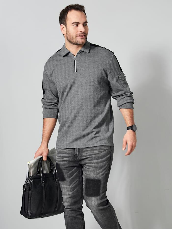 Men Plus Sweatshirt mit aufgesetzter Tasche am Arm, Grau/Schwarz