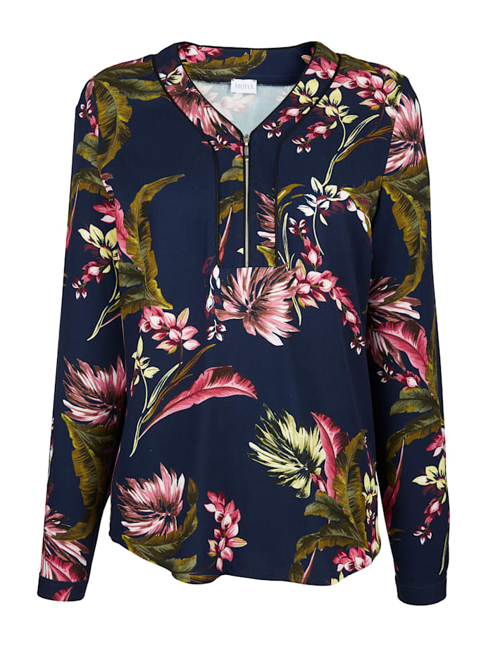 Pull-on blouse with a floral print in complementary colours