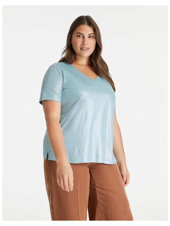 Samoon V-Shirt aus schimmerndem Leinen-Mix, Cameo Blue