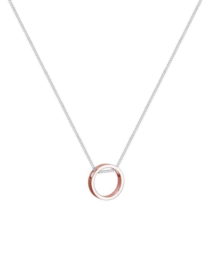 Halskette Kreis Bi-Color Geo Trend 925 Sterling Silber