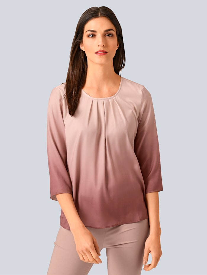 Alba Moda Bluse mit Farbverlauf-Dessin, Rosé