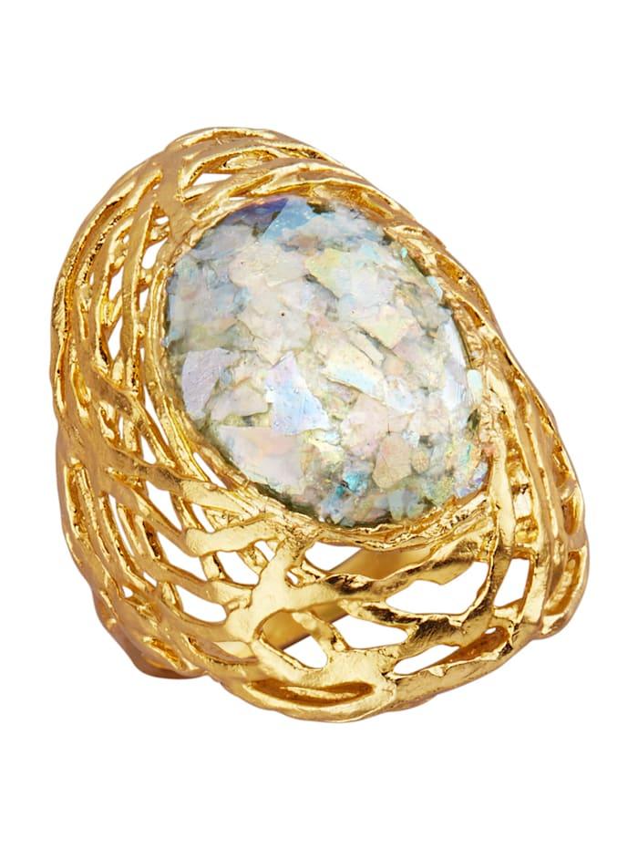 Naisten lasikivisormus (roomalaista lasia), Keltakullanvärinen